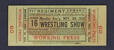 RARE 1934 full Wrestling ticket JOE PARELLI Dave Levin Morelli Campania  Club