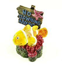 Smiling Yellow Clownfish - No Clowning Around Sign Aquarium & Fish Tank Ornament