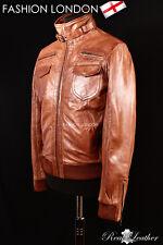 THUNDER Men's Leather Short Aviator Bomber Jacket Tan Washed Classic Jacket 9265