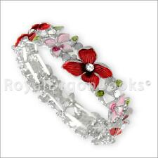 Magnetic Hematite Filigree Enameled with White Crystal Floral  Bracelet / Bangle