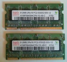 2x Hynix PC2-5300 512 MB SO-DIMM 555 MHz DDR2 Memory (HYMP564S64CP6Y5)