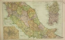 1912 LARGE ANTIQUE MAP ~ ITALY CENTRAL ~ SARDINIA ENVIRONS OF ROME