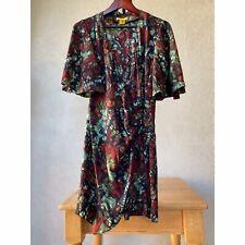 Vintage Catherine Malandrino Black Silk Wrap Dress Short Flutter Sleeve 10 / Med