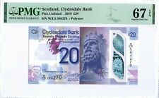 Scotland-UK(Clydesdale Bank) 20 Pounds 2019 PMG 67 EPQ s/n W/LS 584270 POLYMER