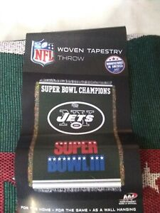 New York Jets Super Bowl III Woven Throw Afghan Tapestry Blanket 48x60