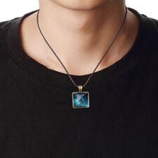 Glow In The Dark Starry Sky Pyramid Geometric Pendant Necklace Men Jewelry Gift