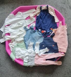 Baby Bundle girls M&S, pinafores, tops, sleepsuits, tights and socks 18-24mths