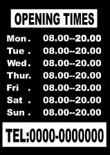 Opening Hours Times Custom Sign  Shop Name one color Vinyl Sticker 300mmX200mm