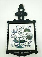 Vintage Mid Century Cast Iron Trivet Ceramic Tile Floral Kitchen Decor Japan