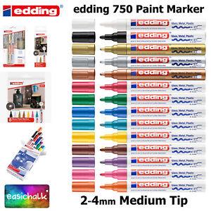 Edding 750 Paint Marker Pens, Medium 2-4mm Bullet Tip, Low Odour, 14 Colours,