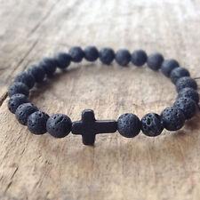 Men's Elastic Lava Rock Stone Turquoise Cross Charm Beaded Bracelet Yoga Jewelry