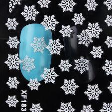 2sheets 3D Nail Stickers White Snowflake Theme DIY Manicure Tips Salon XF183