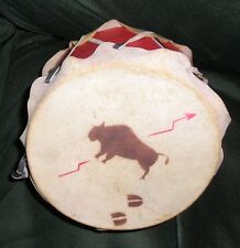 Vtg Red Toy Drum w Buffalo on Hide Skin Leather Bindings Child Western Indian