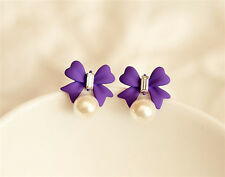 New Pearl Earrings Crystal Earrings Purple Bow ear diamond jewelry
