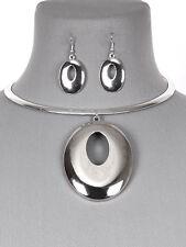 Silver Tone Statement Circle Choker Women Fashion Jewelry Necklace Earring Set