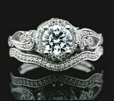 Cubic Zirconia Ring Wedding Set In Silver SP Round Cut Engagement Jewelry Size 7