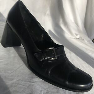 Franco Sarto 9.5M Black Leather Slip On Chunky Heel Made In Brazil Silver Buckle