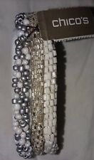 *New Chico's beaded Bracelets white/silver/mixed white/silver. W/Free earrings.