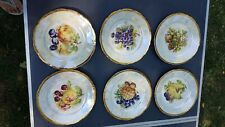 6 Chechoslivakian Fruit Plates Mother of Pearl Effect and Gilded Rim 17cms