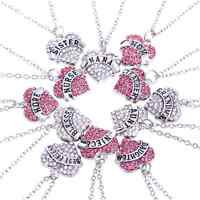 Lovely Family Xmas Gifts Crystal Love Heart Pendant Necklace Chain Jewelry FT05