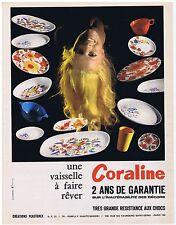 PUBLICITE ADVERTISING 114 1972 CORALINE une vaisselle à faire rêver