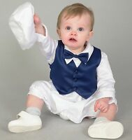 Baby Boys Christening Outfit / Christening Suit 3pc Suit Light Blue Bow Tie