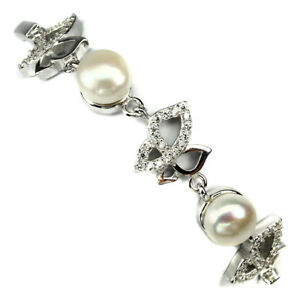 Round 7 Mm White Pearl Cz 14 White Gold Plate 925 Sterling Silver Bracelet 7inch
