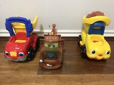 Disney Cars Tow Mater and 2 Fisher Price Little People Dump Trucks