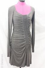 Bailey 44 Grey Ruched Gathered Rayon Jersey Knit Bodycon Sheath Dress Sz M EUC