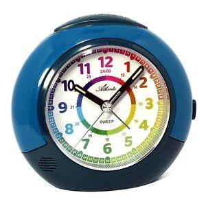 Kinderwecker Blau Jungen Mädchen ohne Ticken Lernuhr Uhrzeit erlernen - 1907-5