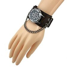 Gothic Punk Biker Watch Leather Cuff Rock Wallet Men or Women WH01
