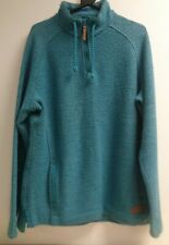 Weird Fish Ladies Turquoise Blue Quarter Zip Thick Jumper UK 18