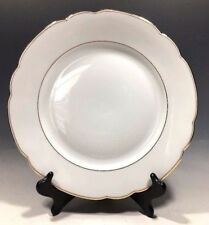 """Seltmann Weiden Bavaria Veritable Porcelain White/Gold Trim Dinner Plate 10.5""""D"""