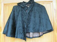 Original C 1890 Black Shoulder Cape Beautiful Floral Pattern Fabric