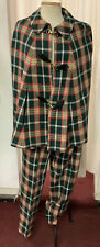 New listing Amazing vintage plaid women's three piece outfit pants, vest, cape Grn Red Yello