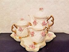 6 Pc. Ivory Porcelain Tea Set With Applied Pink Rose Clusters & Gold Trim