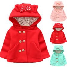 Toddler Baby Kids Girl Ear Hooded Button Coat Winter Warm Solid Jacket Outerwear