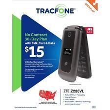 ZTE Z233 VL TracFone prepaid TFZEZ233VCGYP Gray Flip Cell Phone BRAND NEW