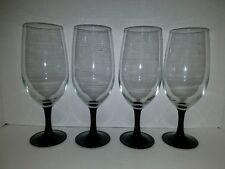 Set of 4 Elegant Large Goblets/Iced Tea Glasses with Black Stems