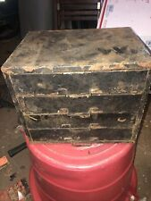 Vintage All Metal 4 Drawer Small Parts Cabinet Box, Garage Organizer Industrial