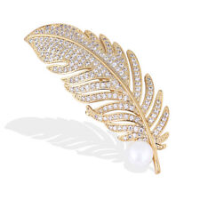 Crystal Feather Leaf Shaped Brooch Pearl Pin Badge Bag Decor Wedding JewelrySE