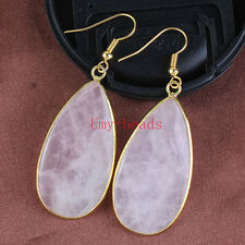 18K Gold Natural Rose Quartz Stone Drop Dangle Hook Women Ear Earring Jewelry