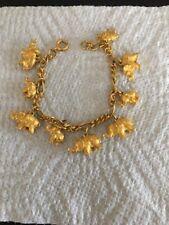 """Vintage Gold Tone Chain Link 9 Elephant Charm Bracelet 7.5"""" Republican"""
