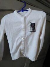 Vintage 1950s Children's Sweater Girls Button Up Tartan Cat Applique #306