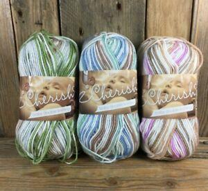 King Cole Cherish Baby DK Sandstone Eucalyptus Stream Knitting Yarn 3x 100g Ball