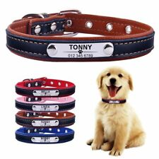 Adjustable Personalized Dog Collar Leather Puppy Id Name Custom Engraved Solid