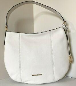 New Michael Kors Brooke Large Hobo Shoulder Bag Leather Light Cream
