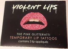 Violent Lips The Pink Glitteratti Temporary Lip Tattoos 4 Pack! 12 Tattoos Total