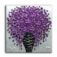 Hand Painted Purple Flower Painting Art Wall Decor Framed Textured Floral Canvas