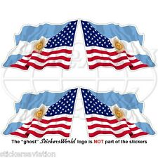 "USA United States America-ARGENTINA Flying Flag Argentinian 50mm(2"") Stickers x4"